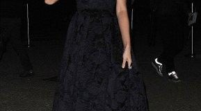hollywood gossip, hollywood latest news, hollywood news, hollywood news today, Miranda Kerr, wore, black gown, arrived, chain's, Paris, FW