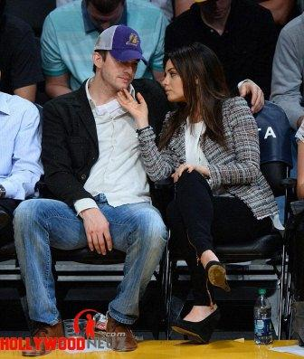 hollywood gossip, hollywood latest news, hollywood news, hollywood news today, Mila Kunis, Ashton Kutcher, cosies up, Lakers game