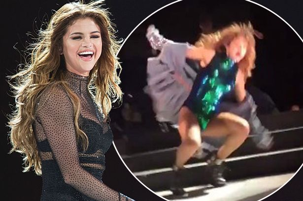 Selena Gomez Falls From A Stage Just After Justin Bieber